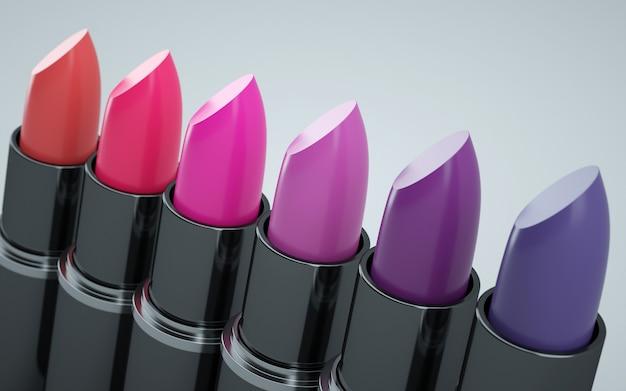 さまざまな口紅の赤と紫
