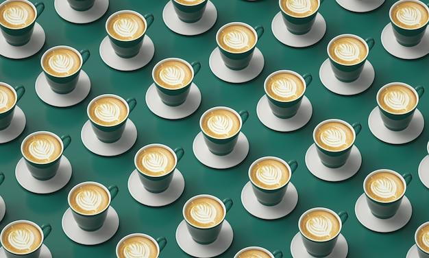 Зеленые чашки кофе помещены в стол. картина для украшения кафе.