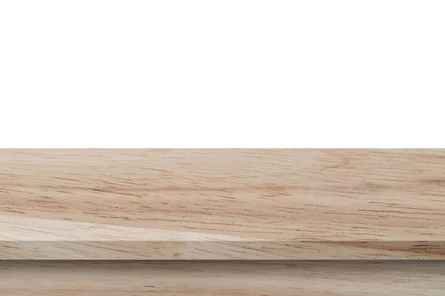 Пустой деревянный стол на изолировать белый фон и дисплей монтажа