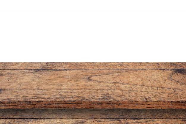 空の木製テーブルは、白い背景を分離し、製品のコピースペースとモンタージュを表示します。