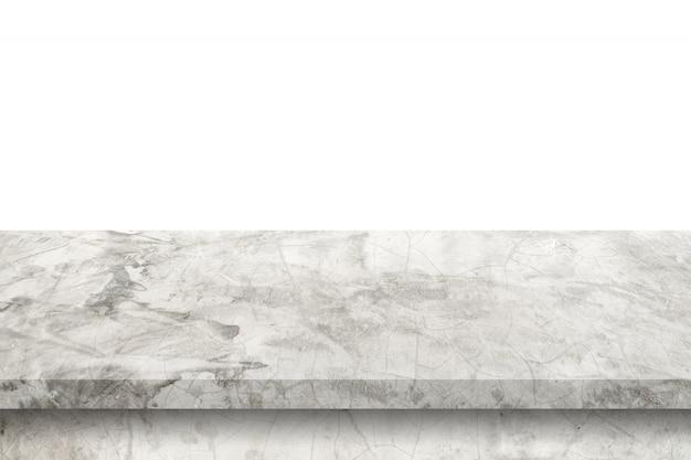 Пустая таблица цемента на изолированной белой предпосылке с монтажом космоса экземпляра и дисплея для продукта.