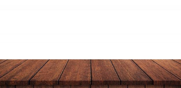分離の白い背景の空の木製テーブル
