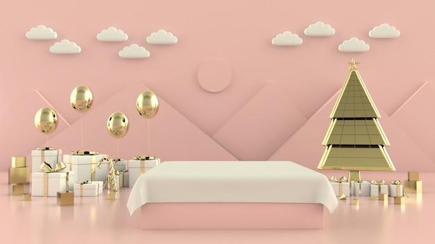 幾何学的形状のクリスマスツリーシーンコンセプト