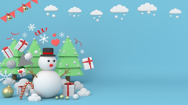 Снеговик стоит на фоне рождества