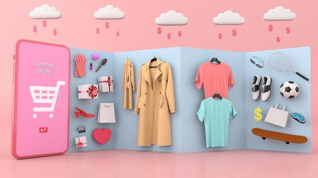 買い物袋や衣類に囲まれたスマートフォン