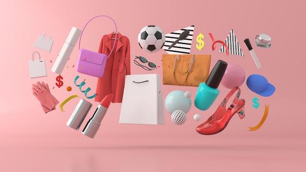 カラフルなボールに囲まれたドレス、パンツ、スウェット、帽子、財布、ハイヒール、サングラス
