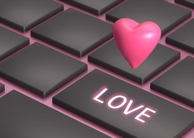 ラップトップコンピューターのボタン、愛のボタンにバレンタインの日に心のレンダリング