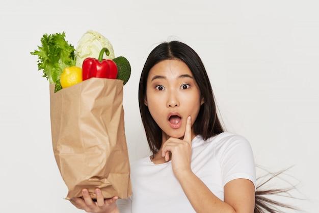 野菜と驚くアジアの女性