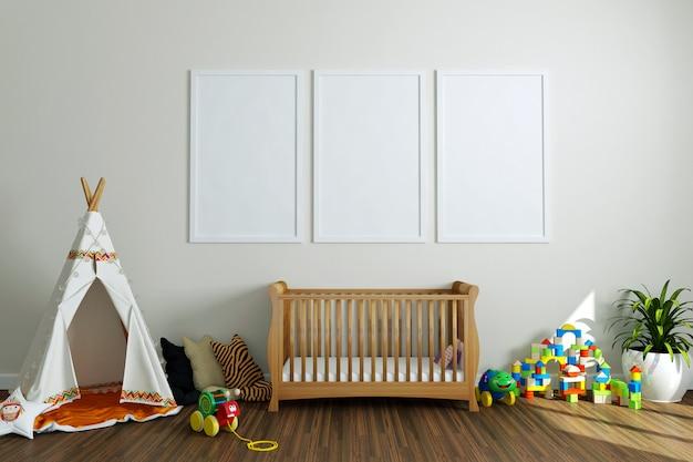 Пустые рамки для фотографий в детской комнате