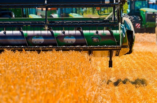 農業機械は、オープンフィールドで黄色の小麦作物を収集します