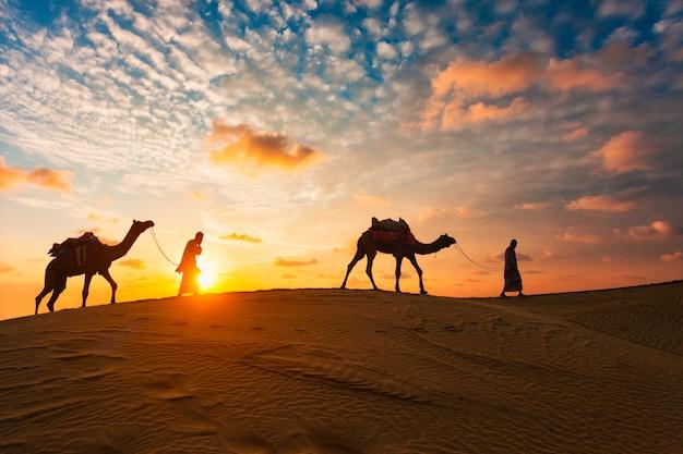 Индийский погонщик верблюдов с верблюжьими силуэтами в дюнах на закате. джайсалмер, раджастхан, индия