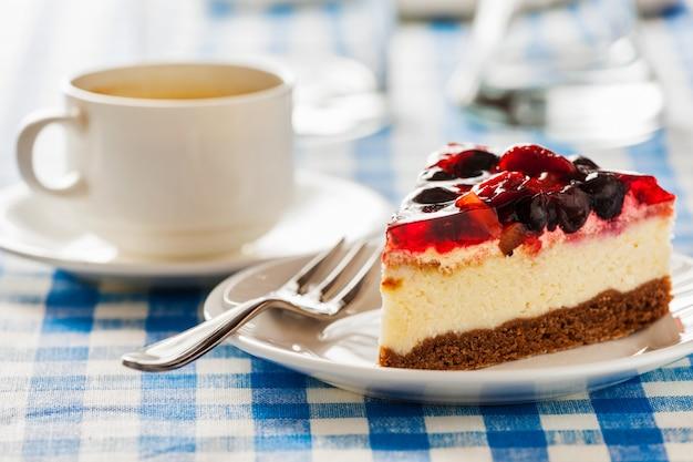 フォークとコーヒーカップの皿の上のケーキ