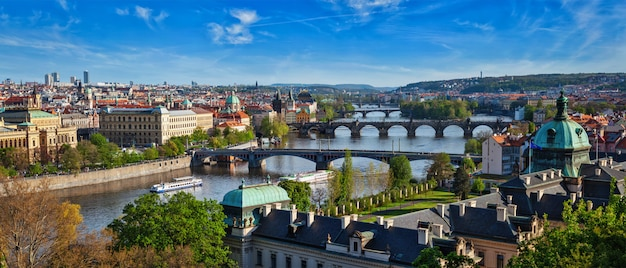 Панорамный вид на пражские мосты через реку влтаву с летни п