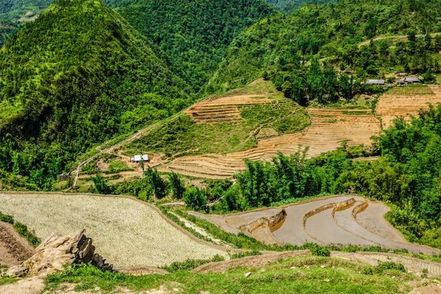Террасы рисовых полей. рядом с сапой, вьетнам