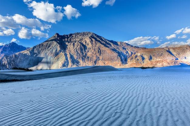 Дюны в долине нубра, ладакх, индия