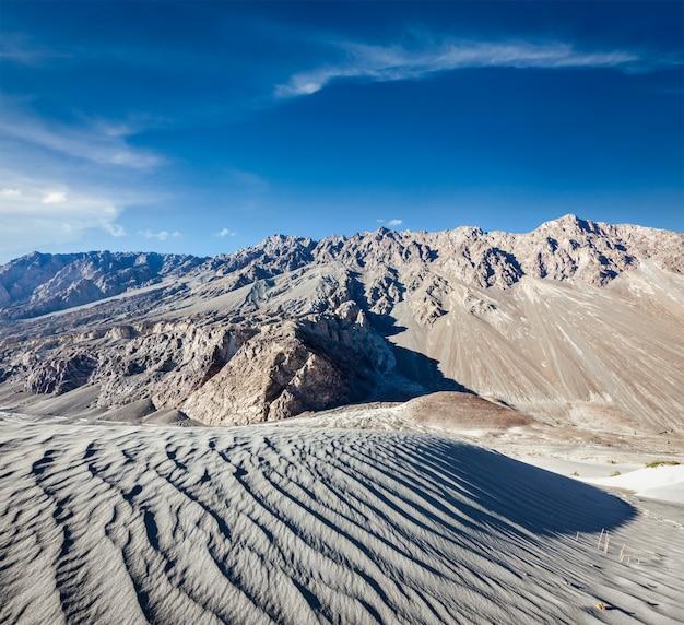 Песчаные дюны. долина нубра, ладакх, индия