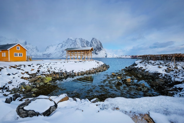 ロブハウスと冬の干しタラ魚のフレークを乾燥。ノルウェーのロフォーテン諸島
