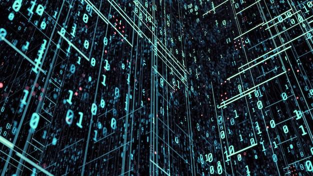 青い色調のバイナリデータの背景。