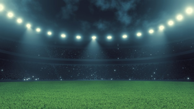 夜のサッカースポーツスタジアム
