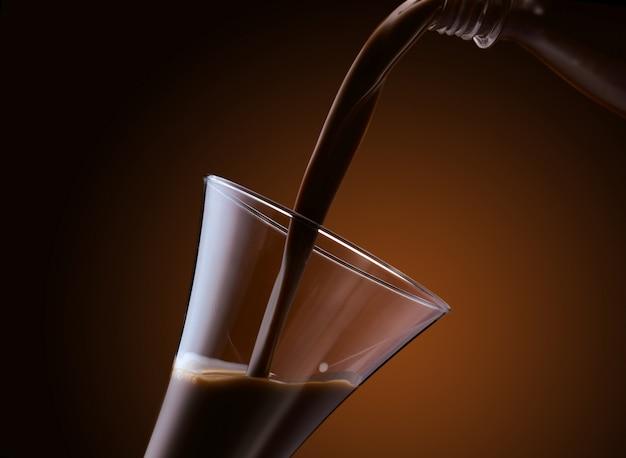 Вкусный жидкий шоколад в стакане