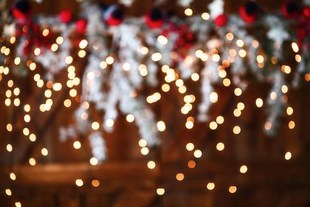 クリスマス黄色ボケ光抽象的な休日の背景