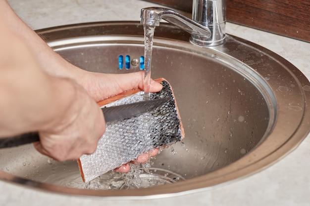 台所の流しにサーモンピンクの魚を洗う手