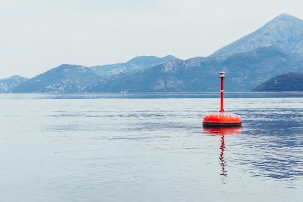 湖の水面に浮かぶ赤いブイ