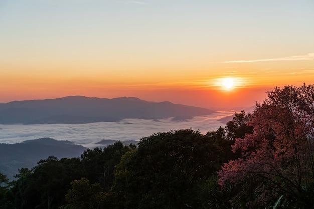 山の向こうの霧の中で美しい日の出と色とりどりの空