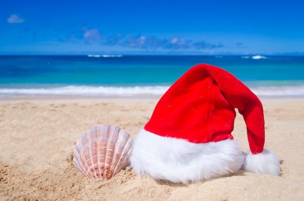 クリスマスやサンタの帽子と貝殻を持つ熱帯のビーチ