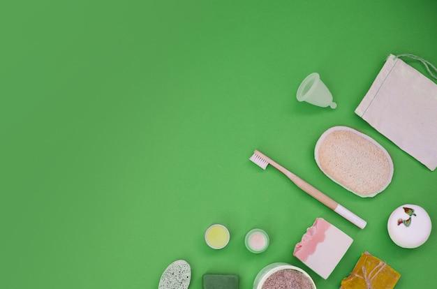 エコ製品の日常のお手入れのセット。廃棄物ゼロ