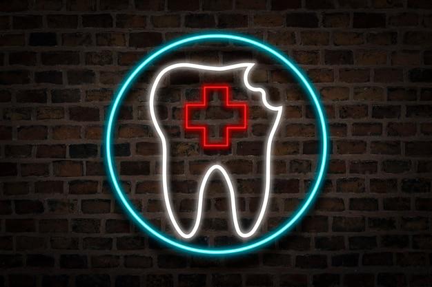 破損した歯、火の壁の背景にネオンサイン。歯科医院のコンセプト、応急処置。
