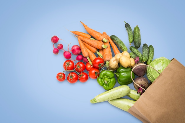 紙の買い物袋と青色の背景に新鮮な有機野菜。農場野菜の購入、健康管理、菜食主義の概念。カントリースタイル、ファームフェア。フラット横たわっていた、トップビュー