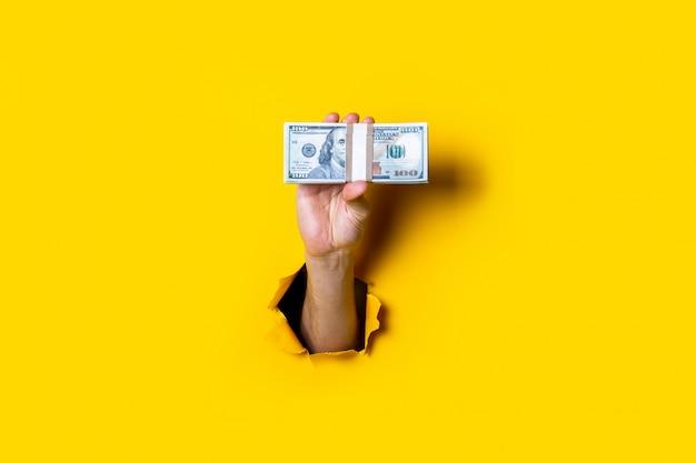 女性の手が紙幣の束を水平に保持します
