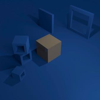 抽象的な青い背景の灰色のキューブボックス