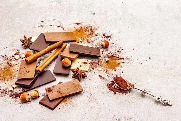 Ассорти из шоколада с разным содержанием какао