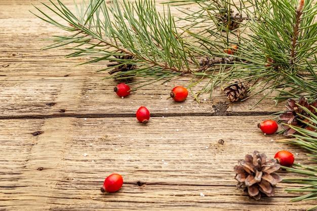 新年とクリスマスの古い木の板