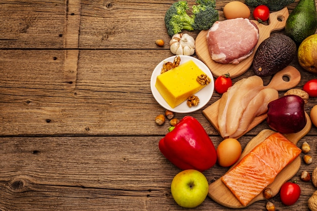 Набор модных кетогенных диетических продуктов