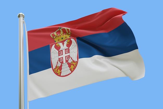Флаг сербии на флагштоке развевался на ветру, изолированных на синем фоне