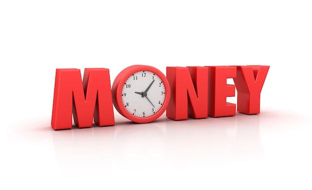 時計付きのお金の言葉のイラストをレンダリング