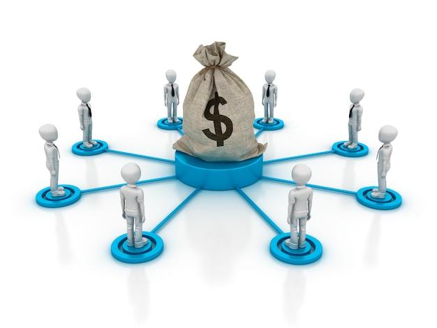 ドルのお金の袋を持つ漫画ビジネスチームワークのイラストをレンダリング