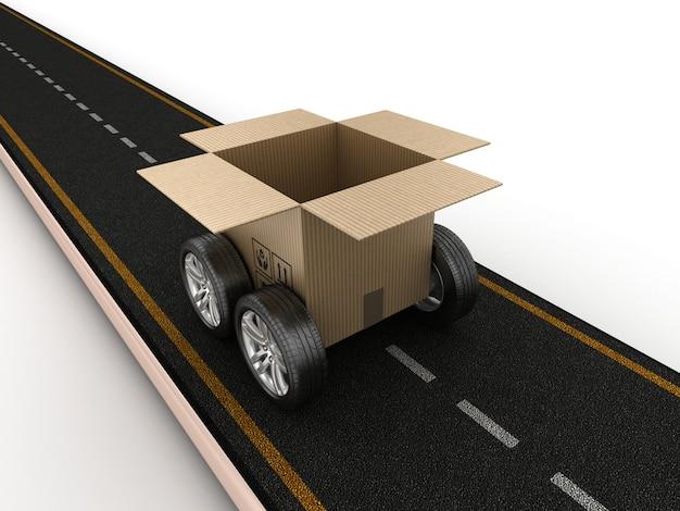Оказание иллюстрации дороги с картонной коробкой на колесах