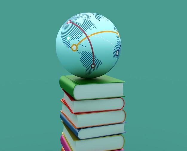 Рендеринг иллюстрация кучу книг с глобусом мира