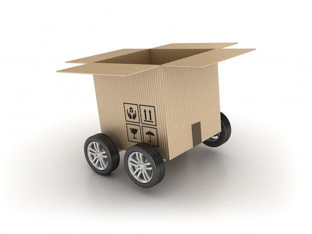 Картонная коробка на колесах