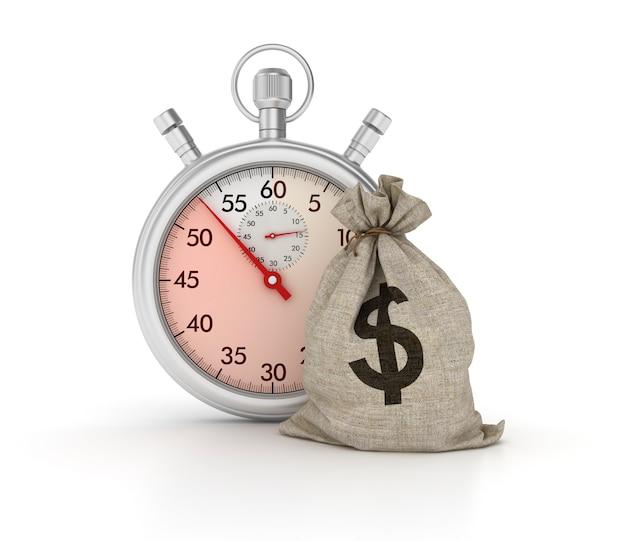 ドルのお金の袋を持つストップウォッチのレンダリング図