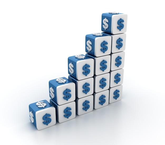 ドル記号の階段のあるタイルブロックのレンダリング図