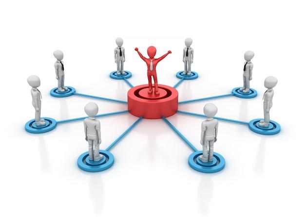 リーダーシップのあるチームワークの漫画のキャラクターのレンダリング図