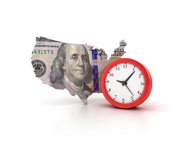 Рендеринг иллюстрация часов со страной сша