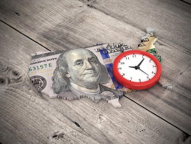 Рендеринг иллюстрация часов с сша и доллар билл