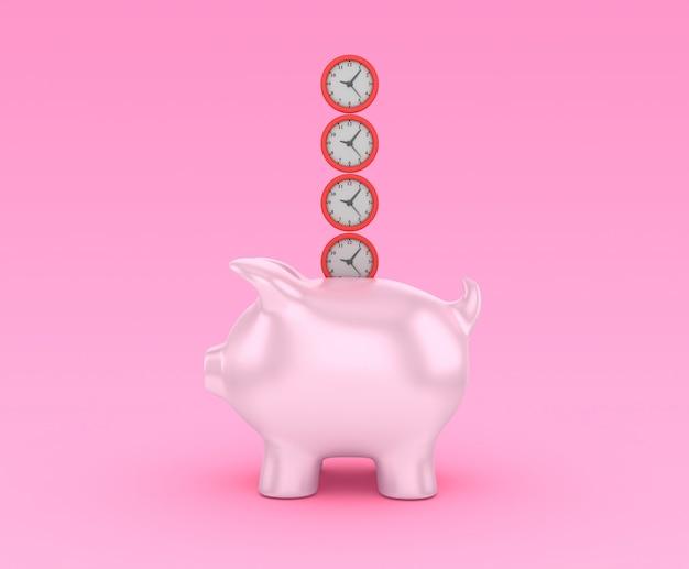 Рендеринг иллюстрация часов с копилкой
