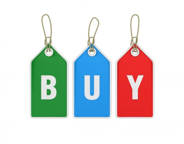 Рендеринг иллюстрация висячие покупки ценники с купить слово